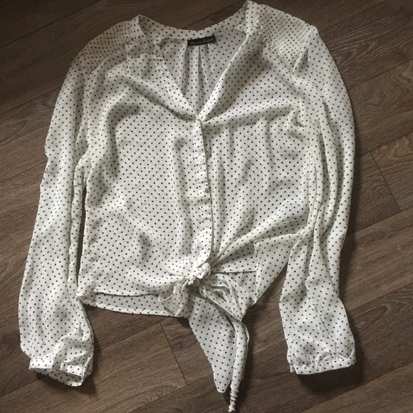 Alexandra Bartlett Sheer XL blouse with front tie